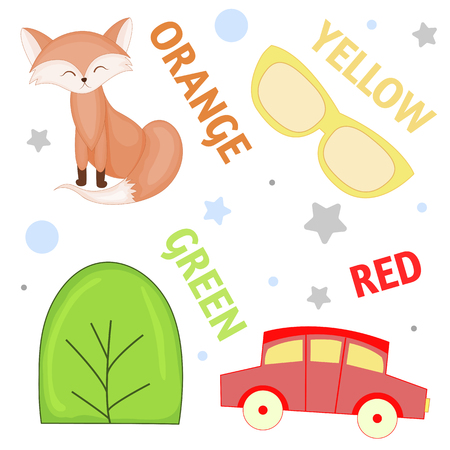 Set of wild animals and insects for children orange, yellow , green, red.