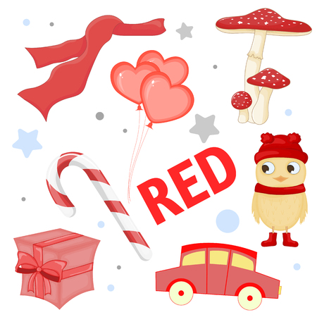 Set of wild animals and insects for children red.