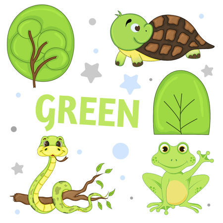 Set of wild animals and insects for children green. Stock Illustratie