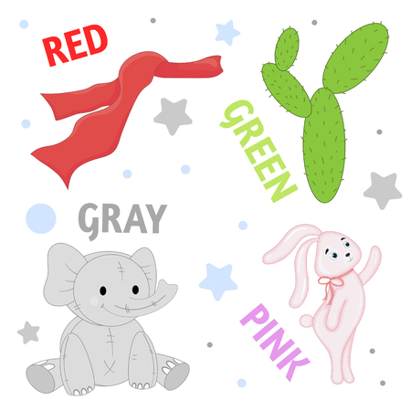 Set of wild animals and insects for children pink, red, green, gray