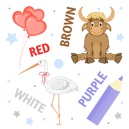 Set of wild animals and insects for children red, brown, white, purple Stock Illustratie