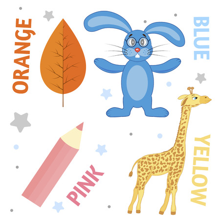 Set of wild animals and insects for children orange, blue, pink, yellow. Illustration