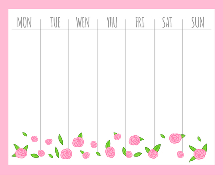 Weekly children's planner with roses, vector graphics.