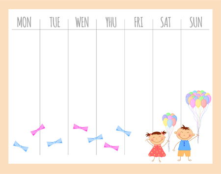 Weekly children's planner with children, vector graphics.
