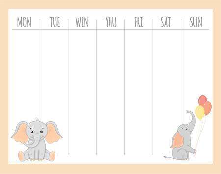 Planificador infantil semanal con elefantes, gráficos vectoriales. Ilustración de vector