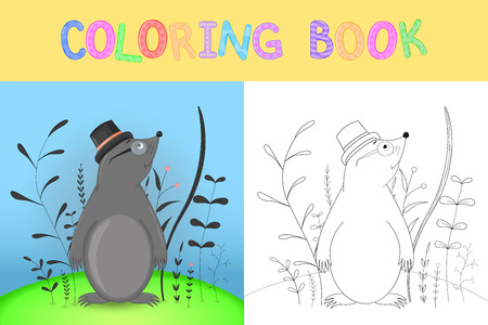coloring book or page for children of school and preschool age. Developing children's coloring. Vector cartoon illustration with cute mole.