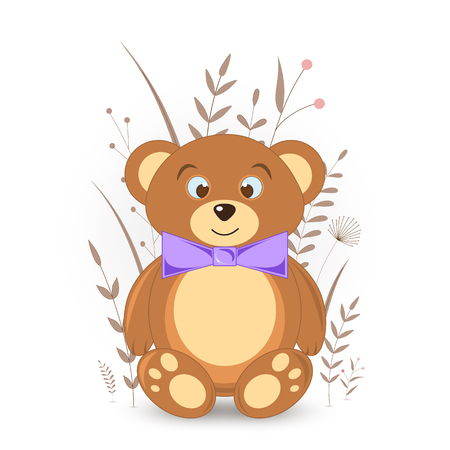 Gift postcard with cartoon animals bear. Decorative floral background with branches and plants