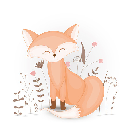 Gift postcard with cartoon animals fox. Decorative floral background with branches and plants