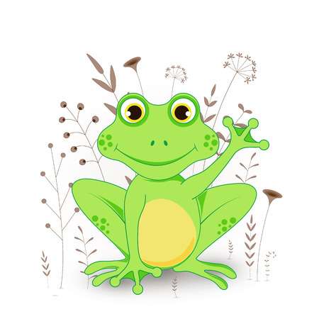 Gift postcard with cartoon animals frog. Decorative floral background with branches and plants