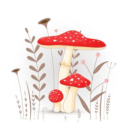 Carte postale cadeau avec champignon animaux de dessin animé. Fond floral décoratif avec des branches et des plantes
