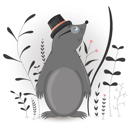 Gift postcard with cartoon animal mole in the cylinder and glasses. Decorative floral background with branches and plants. Postcard with cartoon characters. The layout of the square cards