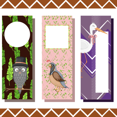 Baby bookmarks with cute animals, vector graphics. Imagens - 124012982