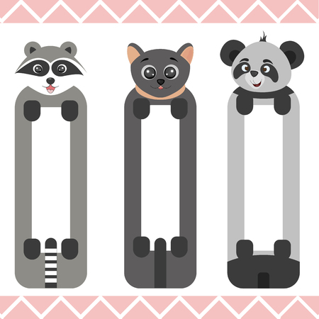 Baby bookmarks with cute animals, vector graphics.