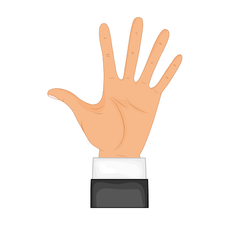 Hand in pose. Male or female hand in cartoon style.