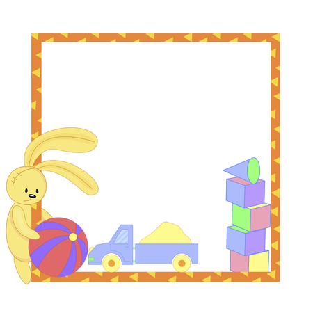 frame with cartoon animals, vector illustration of cute animals.  イラスト・ベクター素材