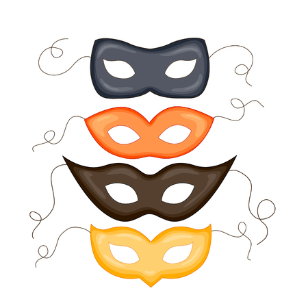 Fashion carnival mask illustration. isolated ornate masks for masquerade.