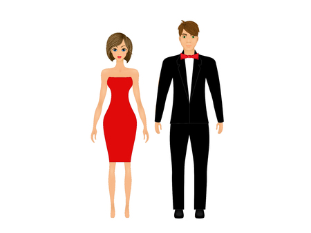 Paper dolls, young woman and guy in beautiful prom party looks, evening gown and suit.