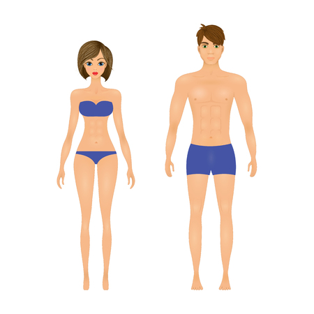 slim guy and the girl in the blue swimsuit.