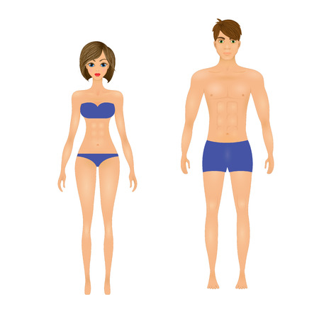 slim guy and the girl in the blue swimsuit. Illustration