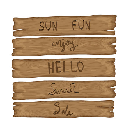 wooden old sign in retro cartoon style isolated on white background. Enjoy, hello, summer, sale, sun, fun 矢量图像