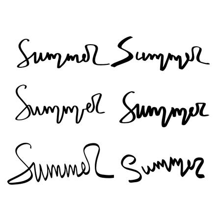 Scritte a pennello disegnate a mano estive. Tipografia estiva - estate.