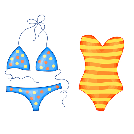 set of bright striped orange yellow and blue polka dot beach swimsuit in cute cartoon style. Vector illustration isolated on white background. Ilustração