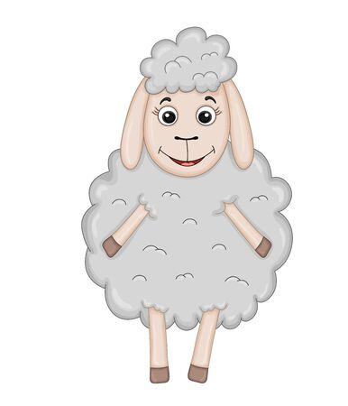 fluffy sheep of gray color . cartoon animals Ilustrace