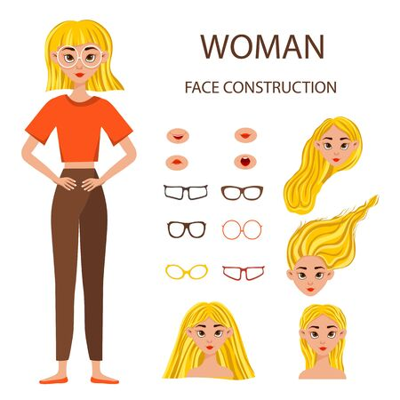 Woman face constructor. Businesswoman working character design set. Vector illustration.