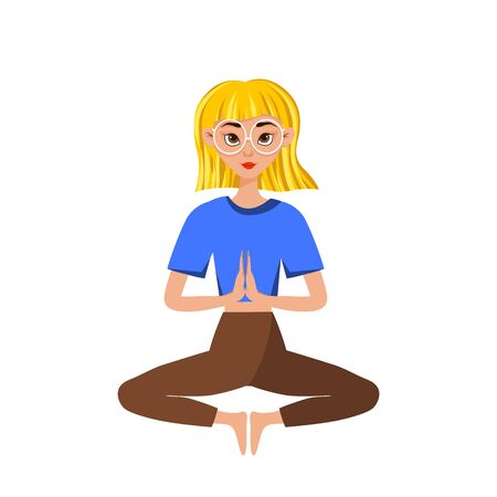 Vector spectacled blonde girl doing yoga, sitting in a lotus pose or padmasana, isolated on white background. Healthy lifestyle concept illustration.