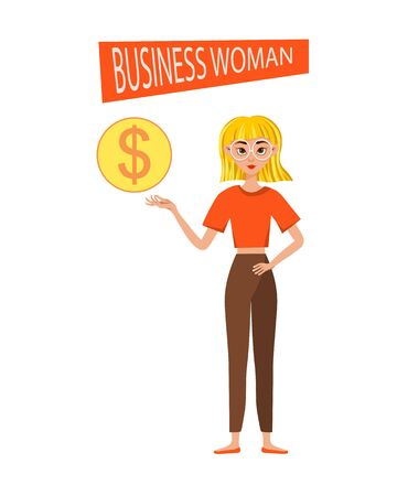Businesswoman working character design set. The girl points to the dollar icon. Vector illustration. Ilustração