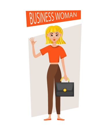 Businesswoman working character design set. The girl shows her hand and forefinger. Vector illustration