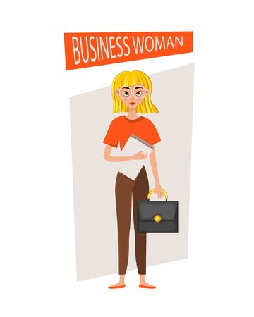 Businesswoman working character design set. The girl holds a briefcase and a folder. Vector illustration.