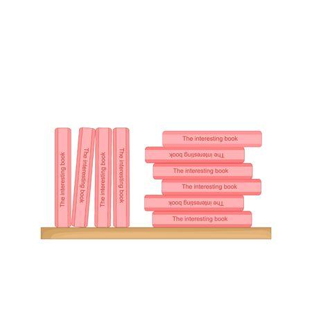bookshelf with books, pink books. vector illustration. Ilustrace