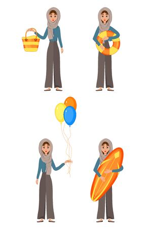 Vacation set of female characters. Girl with holiday attributes in her hands. Vector illustration.