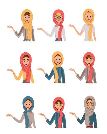 Woman face characters in a scarf on white background. Vector illustration.