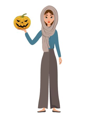 Halloween set of female characters. Girl with pumpkin in her hands. Vector illustration.