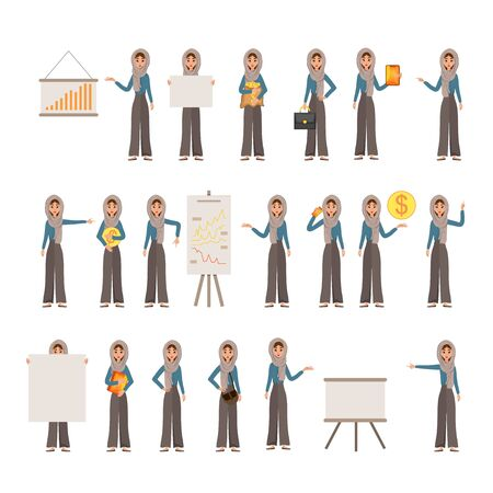 Constructor set of female characters. Girls with financial attributes on white background. Vector illustration. Ilustrace