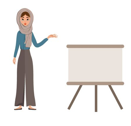 Set of female characters. Girl points hand to the schedule. Vector illustration