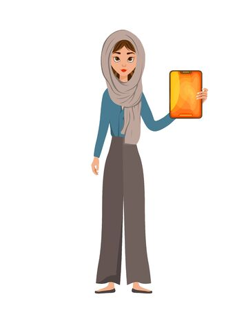 Woman character in a scarf with tablet on white background. Vector illustration.