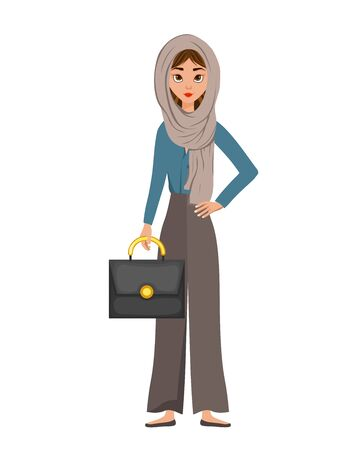 Woman character in a scarf with a briefcase on white background. Vector illustration.