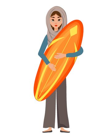Woman holiday character in a scarf with a surfboard on white background. Vector illustration. Ilustrace