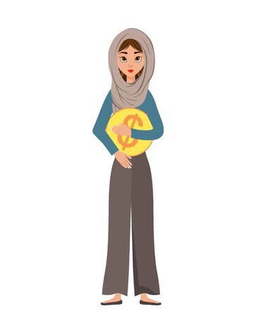 Woman character in a scarf with dollar icon on white background. Vector illustration.