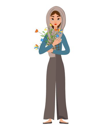 Halloween set of female characters. Girl with flower bouquet in her hands. Vector illustration.