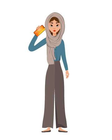 Woman character in a scarf with smartphone on white background. Vector illustration.