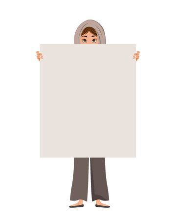 Woman character in a scarf with clear sheet on white background. Vector illustration.