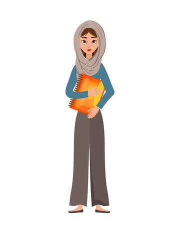 Woman character in a scarf with notebook on white background. Vector illustration.