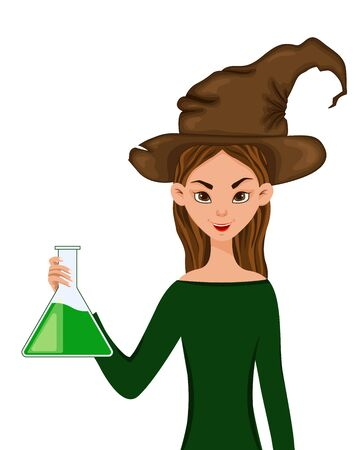 Halloween set of female characters. Girl in hat with a drug in her hands. Vector illustration