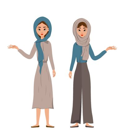 Set of female characters. Girls points to the right hand to the side. Vector illustration Ilustrace