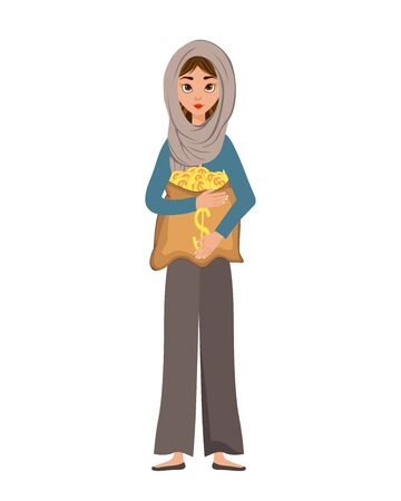 Woman character in a scarf with a bag of money on white background. Vector illustration