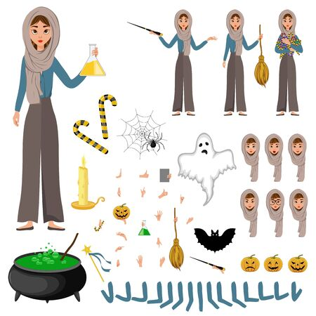 Halloween constructor set of female characters. Girl with holiday attributes in her hands. Vector illustration. Banque d'images - 129186089